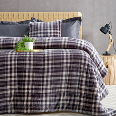 Κουβερτοπάπλωμα Flannel Fleece, Palamaiki Check Grey